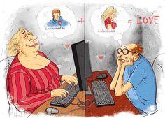 Lustige Reaktionen auf Online-Dating