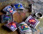 PMC Silver Bird Photo Transfer Bracelet, PMC Artisan Jewelry, Nature J...  staciejewelry  $180.00 USD