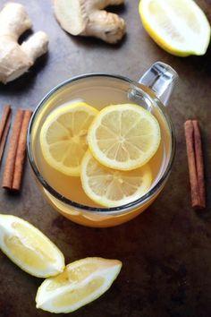 Healing Ginger Tea - Cinnamon, Honey, Lemon, and Ginger make this tea so soothing! Ginger Detox Water, Lemon Ginger Water, Ginger Tea, Honey Lemon, Detox Drinks, Healthy Drinks, Healthy Snacks, Healthy Eating, Healthy Recipes