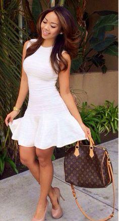 Ivory Sleeveless Fit & Flare Dress available at www.FashionNova.com