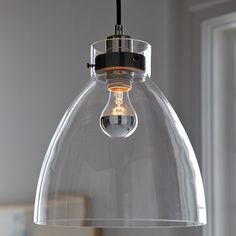Industrial pendant light by West Elm. This contemporary glass pendant light would look great hung over an island or dining table. Industrial Lighting, Home Lighting, Modern Lighting, Pendant Lighting, Kitchen Lighting, Ceiling Pendant, Island Lighting, Lighting Design, Pendant Lamps