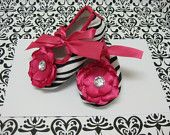 Baby Girls Hot Pink Zebra shoes, Ballet style baby shoes, zebra and hot pink baby booties, baby shoes size 0 to 3 months