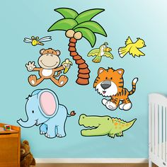 Jungle Animals Group Two REAL.BIG. Fathead – Peel & Stick Wall Graphic | Jungle Animals Wall Decal | Nursery Decor