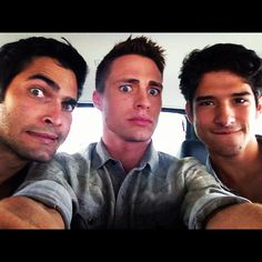 Colton Haynes just tweeted this photo of fellow Teen Wolf hotties Tyler Posey and Tyler Hoechlin heading to their Comic Con panel!
