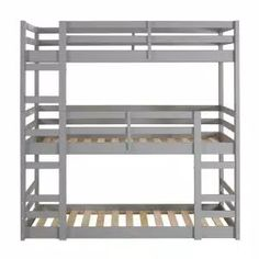 Harper & Bright Designs Espresso Twin Bunk Bed Over with Trundle Bed and End Ladder-SK000067AAP - The Home Depot Low Bunk Beds, Bunk Bed With Trundle, Bunk Beds With Stairs, Kids Bunk Beds, Loft Beds, Triple Twin Bunk Bed, Solid Wood Bunk Beds, Bunk Bed Designs, Grey Bedding