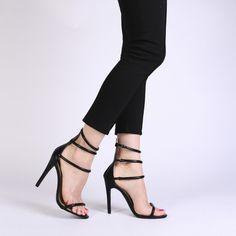 Nikki Strappy Stilettos in Black