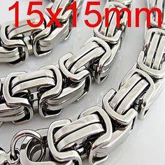 XXXL Edelstahl Herren Königskette Panzerkette Halskette silber 15mm 60 bis 90cm