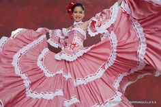 Traditional Cumbian dress at Barranquilla Carnival, Colombia. Come and visit us at www.Going2Colombia.com