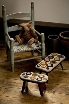 Penny Topped Stools - Maggie Bonanomi Thistle Down Moon