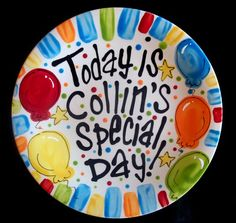 Brightly Painted Personalized 8 Inch Ceramic Special Day Plate or Birthday Plate via Etsy
