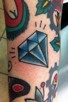 Tatuagem de Diamante | Oldschool Azul