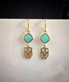 gold aqua blue owl dangle earrings everywear by LaylaReneeCouture, $21.00 SO CUTE!