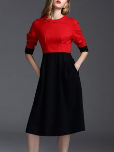 Shop Midi Dresses - Black Plain Elegant Midi Dress online. Discover unique designers fashion at StyleWe.com.