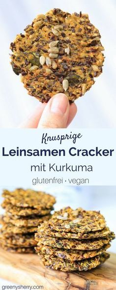 Glutenfreie Leinsamen-Cracker mit Kurkuma und Curry (vegan) lowcarb www. Vegan Cru, Raw Vegan, Low Carb Recipes, Vegetarian Recipes, Healthy Recipes, Free Recipes, Vegetarian Lifestyle, Flax Seed Crackers, Low Carb