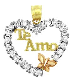 14k Tri Color Gold Spanish Love Te Amo Butterfly Heart Necklace Pendant. Spanish message of love te amo in heart necklace pendant or bracelet charm with butterfly. finely crafted with solid 14 karat yellow gold, white gold, and pink/rose in perfect polished finish. comes with free special gift packaging. made in the USA yet offered at factory-direct jewelry price. ships within 24 hours from the manufacturer directly to the customers themselves.