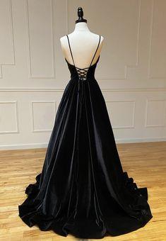 Black V Neck Velvet Prom Dress Evening Dress on Luulla Pretty Prom Dresses, Simple Prom Dress, Grad Dresses, Black Wedding Dresses, Ball Dresses, Beautiful Dresses, Ball Gowns, Flapper Dresses, Formal Dresses