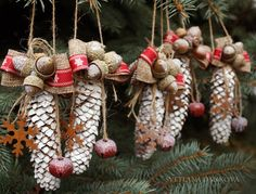 Pine Cone Christmas Ornament Rustic Set of 5 by LaivaArt on Etsy