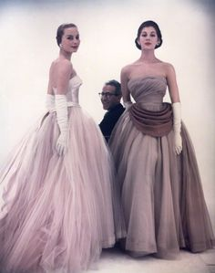 Victor Frank Stiebel with two models in his Stunning Gowns 1953