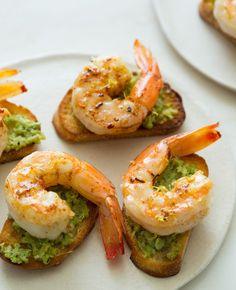 Favetta Crostinis topped with Smoky Sautéed Shrimp