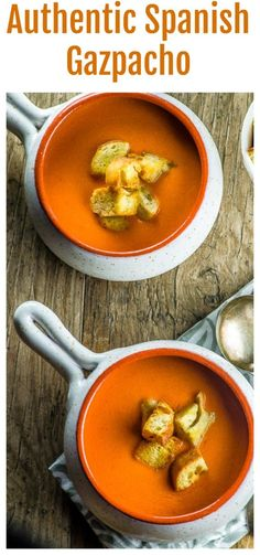 Nothing like a cold and refreshing bowl of authentic Spanish Gazpacho to cool off this summer. Authentic gazpacho from Spain is silky and smooth not chunky. You can add some crunch with some fresh cut tomatoes, cucumbers, peppers and fresh made croutons.