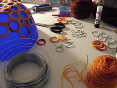 Crocheting around DIY wire circles and making a bowl. {DIY}