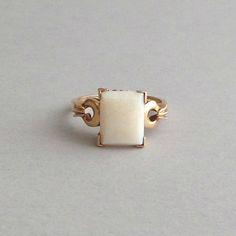 Art Deco Opal Ring. Rectangular Stone. 10K Gold. by pinguim, $560.00