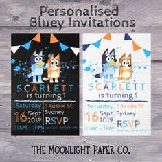 Personalised Bluey The Dog Invitations , Abc Party, First Birthday Party Themes, Carnival Birthday Parties, Dog Birthday, Birthday Bash, Birthday Ideas, Carnival Party Foods, Abc For Kids, Party Invitations Kids