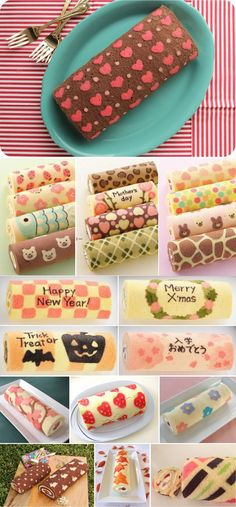 Patterned Cake Roll... so cute and so simple... have to try it.
