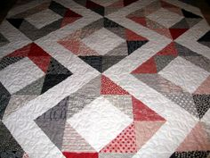 Modern Quilt // Diamonds in the Square Quilt // Modern Queen Quilt // Moda Quilt // Mama Said Sew Quilt //Reversible Quilt. $397.00, via Etsy.