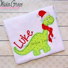 Santa Dinosaur, Boys Christmas Shirt, Winter Embroidered Applique Shirt or Bodysuit