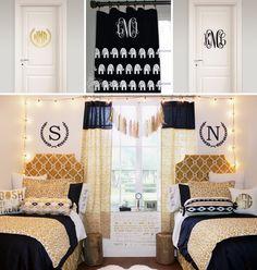 Sweet on gorgeous BLACK & GOLD sorority room decor from Decor 2 Ur Door!! ★ <3 ★ http://www.decor-2-ur-door.com