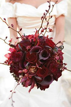 """THIS IS GORGEOUS - Why not say """"I Do"""" with the color of fall, oxblood. #Floralbouquet #Weddingbouquet #Steampunkwedding #oxblood"""