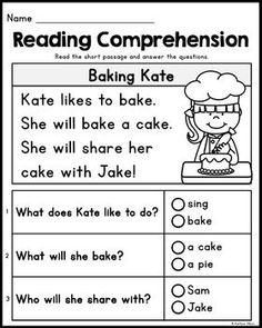 FREE Kindergarten Reading Comprehension Passages - Set 2 by Kaitlynn Albani First Grade Reading Comprehension, Phonics Reading, Reading Worksheets, Teaching Reading, Reading Response, Comprehension Strategies, Grade 1 Worksheets, Autism Teaching, Reading Skills