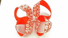 Hey, I found this really awesome Etsy listing at https://www.etsy.com/listing/198575855/boutique-hairbow-orange-white-damask