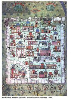 Matrakçı Nasuh-Diyarbakır-Beyan-i Menazil-i Sefer-i Irakeyn-i Sultan Suleyman, written circa 1537. (Istanbul University Library) Ancient Near East, Map Globe, Turkish Art, Medieval Art, Illuminated Manuscript, Cartography, Ottomans, Map Art, Islamic Art