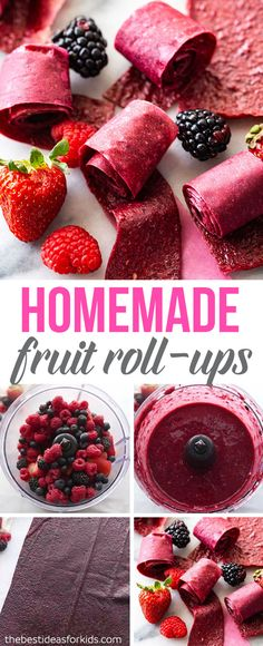 HOMEMADE FRUIT ROLL-UPS 🍓🍓🍓- so easy to make! Only 3 ingredients and all natural! Your family will love this fruit leather recipe! Kielbasa, 100 Calories, Easy Snacks, Healthy Snacks, Dinner Healthy, Healthy Chef, Healthy Kids, Eat Healthy, Baby Food Recipes