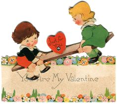 "https://flic.kr/p/9gzgEE | vintage valentine: see-saw | ""You are My Valentine""  (sad that after this card probably survived well over 50 years, now her little head falls off)"