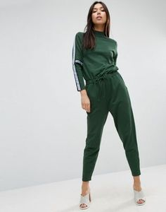 ASOS Jersey Sweat Jumpsuit with Tape Detail