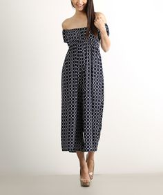 Look at this Navy & White Circle Geo Off-Shoulder Jumpsuit on #zulily today!