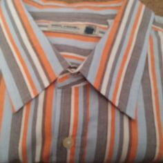 SOLD!!! NEW PAUL FRANK Mens XL Casual Shirt L/S Button Front Striped Blu/Orn/Gray Deer   #PaulFrank #ButtonFront