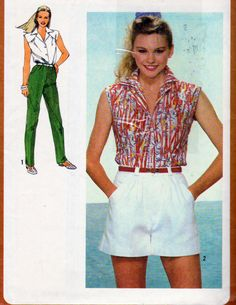 Simplicity 9552,  Misses Button Front Shirt, Wide Leg Shorts and Straight Leg Pants with Front Fly Zipper Pattern, Size 14, Vintage 1980 by OnceUponAnHeirloom on Etsy