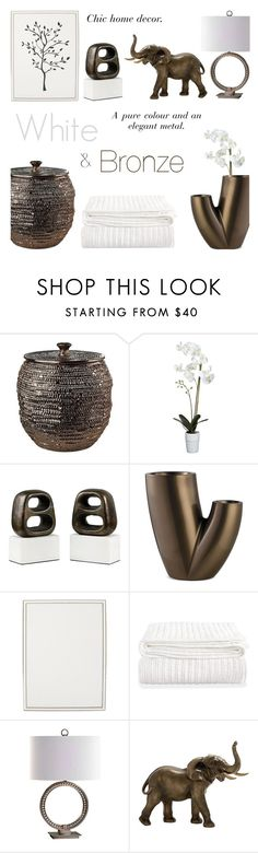 """White and Bronze"" by c-silla ❤ liked on Polyvore featuring interior, interiors, interior design, home, home decor, interior decorating, Pols Potten, Crate and Barrel, Bungalow 5 and Twentyfirst"
