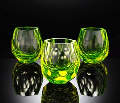 Whiskey glasses,Uranium  Loving the green color.  Shouldn't these be for Absinthe instead of whiskey?
