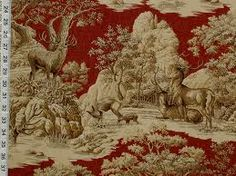dark red upholstery fabric with crests and deer - Google Search