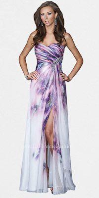 Lavender Print Prom Dresses by La Femme