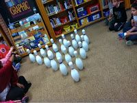 Shameless plug of a super fun activity- working on library skills. a to z library: Brimhall Book Bowling