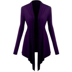 Yoins Purple Long Sleeves Irregular Hem Cardigan ($16) ❤ liked on Polyvore featuring tops, cardigans, black, long sleeve cardigan, cardigan top, purple long sleeve top, long sleeve tops and open front cardigan