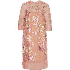 Biyan Ava embellished silk-blend organza dress (29 685 UAH) ❤ liked on Polyvore featuring dresses, biyan, sheer applique dress, sheer dress, sheer beaded dress, transparent dress and red sheer dress