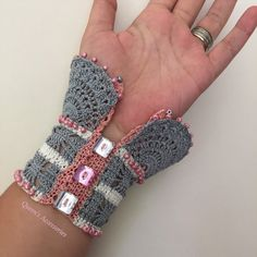 NEW Beaded Crochet Cuff Bracelet Gray Pink by QueensAccessories