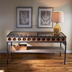 Made from steel and white oak, the Wine Bottle Display Console Table is designed to show-off your vino collection. Bar Console, Console Tables, Diy Wohnmöbel, Wine Bottle Display, Wine Bottles, Diy Home Furniture, Recycled Furniture, Cheap Furniture, Furniture Plans